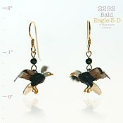 Hand-Painted 3-D Bald Eagle Earrings