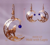 Baying Wolf Earrings with Lapis Beads