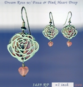 Dream Rose Earrings with Paua Shells and Heart Beads