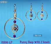 Pansy Hoop Earrings with Amethyst Beads