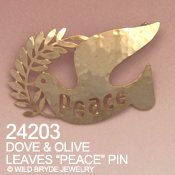 Peace Dove with Olive Branch Pin