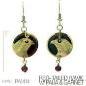 Hawk with Red Paua and Garnet Earrings