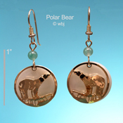 Polar Bear on Ice Earrings with Mother of Pearl Cabochon