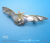 Small Silver and Brass Bat Pin
