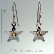 Shining Star with Gold Bead Earrings