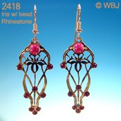Iris Motif Earrings with Ruby-Colored Beads and Rhinestones