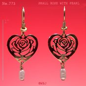 Heart shaped Rose Earrings with White Pearl