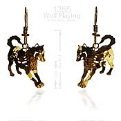 Playing Wolf Earrings