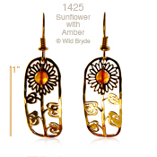 Wild Bryde Sunflower with Amber Earrings