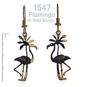 Flamingo w/ Palm Tree Earrings