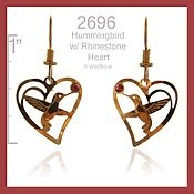 Hummer Heart with Rhinestone Earrings