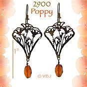 California Poppy and Crystal Earrings