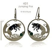 Jumping Fox w/ Malachite Earrings