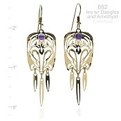 Iris Earrings with Dangles and Amethyst