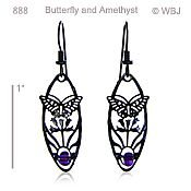 Butterfly Earrings with Amethyst Beads