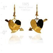 Heart with Cupid's Arrow Earrings
