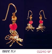 3-D Brine Fly earrings with heart bead