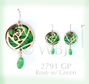 Rose Earrings with enhanced green Paua Shell