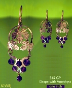 Grape Earrings with Amethyst Beads
