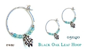 Beaded Oak Leaf Hoops