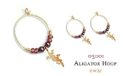 Beaded Alligator Hoops