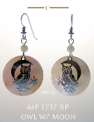 Whimsical Owl Earrings with Mother of Pearl Cabochons
