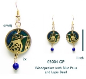 Woodpecker Earrings with Paua Shells and Beads