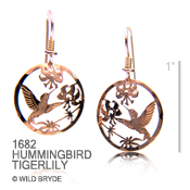 Hummingbird and Tiger Lily Earrings