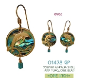 Dolphin Earrings with Paua Shell and Turquoise