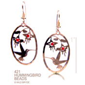 Hummer with Red Beaded Flower earrings