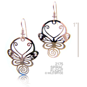 Spiral Flight Butterfly Earrings