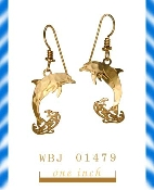 Dolphin Earrings with Splashing Water