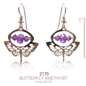 Butterfly with Amethyst Earrings