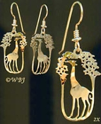 Giraffe Eating From Tree Earrings