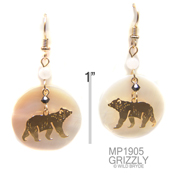 Grizzly Bear Earrings with Mother of Pearl Cabochon