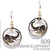 Asian Elephant Portrait Earrings