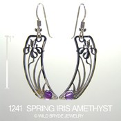 Spring Iris with Amethyst Earrings