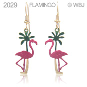 Painted Flamingo and Palm Earrings