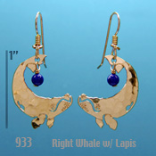 Right Whale with Lapis Bead Earrings
