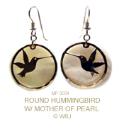Round Humming Bird with Mother Of Pearl Earrings