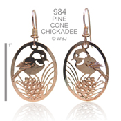 Pine Cone Chickadee Earrings