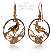 Stellar's Jay and Pine Cone Earrings