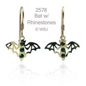 Swarovski Rhinestone Bat Earrings