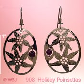 Poinsettia Earrings with Garnet Beads