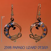 Papago Lizard Earrings with Swarovski Rhinestones