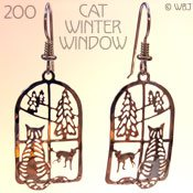 Cat and Dog Winter Window Earrings
