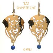 Cat with Iris and Lapis Earrings