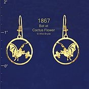 Bat at Cactus Flower Earrings