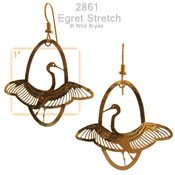 Winged Egret Oval Earrings