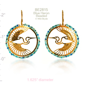 Beaded Blue Heron Earrings